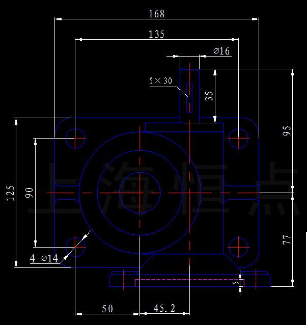 SWLD2.5-2A-I[配铜螺母及电机图纸]丝杆升降机装订6法兰图片