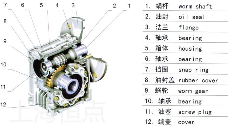 rv系列减速机的剖面结构彩图